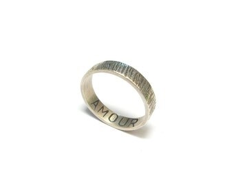 Message hammered silver
