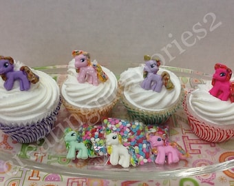MY FONDANT PONY'S - Edible pony great for cupcakes and cake pops - Cute and shimmer
