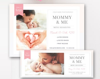 Mommy & Me Mini Session Template, Mother's Day Marketing Board, Facebook Cover, Mommy and Me Photography Board - INSTANT DOWNLOAD