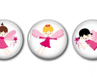 Fairies Set of 3 Magnets or Button Badges 1 Inch (2.5cm)