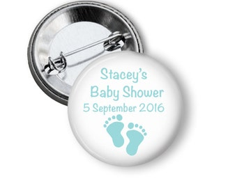 Baby Shower Badge  - Blue Feet 5.7cm (2.25 inches)