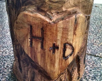 Chainsaw Carved Heart in Tree
