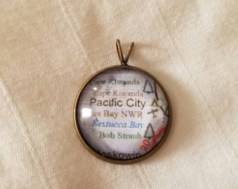 Pacific City Oregon Cape Kiwanda Glass Map Pendant Necklace