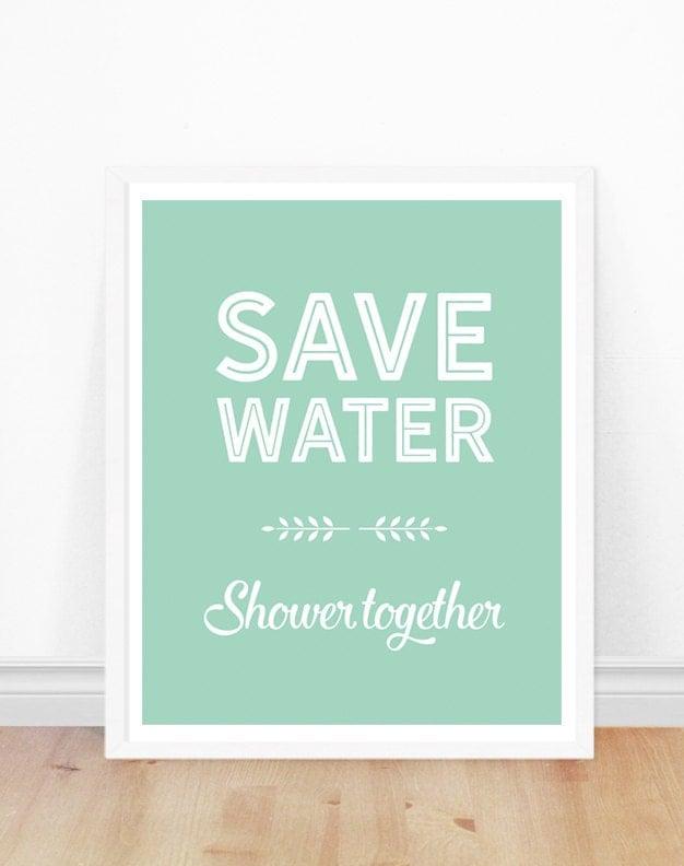 Bathroom wall art save water shower together by bonmotprints for Bathroom decor etsy
