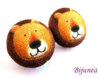 Lion earrings - Orange Lion earrings - Lion studs - Lion posts - Lion stud earrings - Lion post earrings sf318