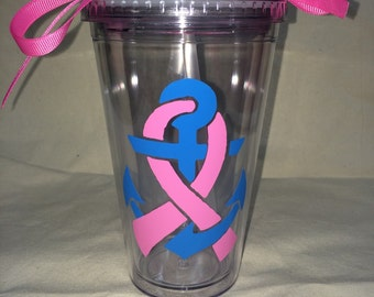 Personalized Tumbler, Mothers Day Gift, Breast Cancer Awarness, Nautical, Anchor