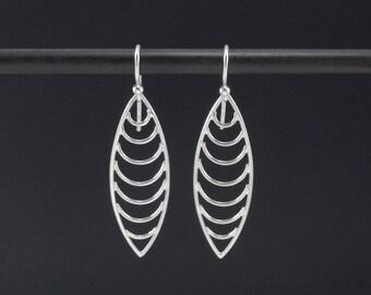 Marquis Earrings Sterling Silver Dangle Earrings, Marquis Drop Earrings  with Inset Curves, Modern Earrings, Abstract Earrings