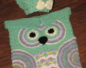 Crochet Custom-Made Baby Owl Cocoon and Hat Set / Owl Cocoon / Baby Cocoon