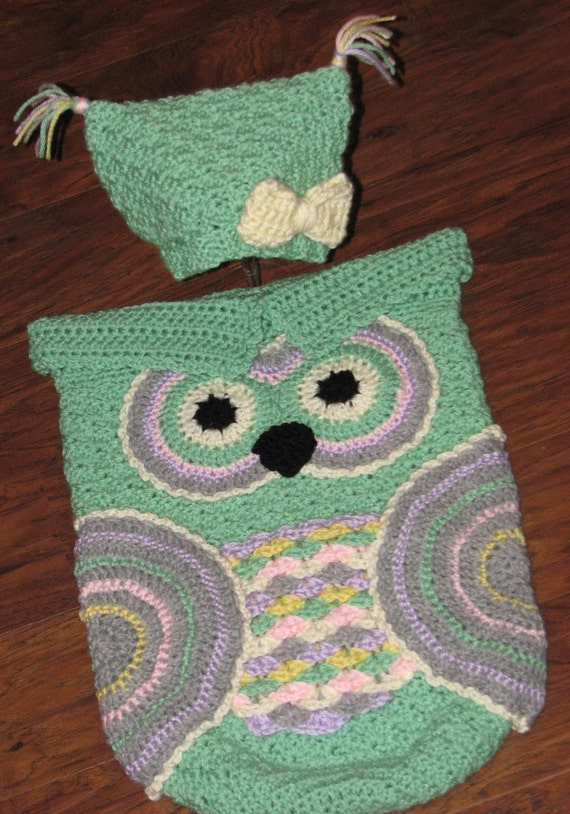 Crochet Owl Cocoon : Crochet Custom-Made Baby Owl Cocoon and Hat Set / Owl Cocoon / Baby ...