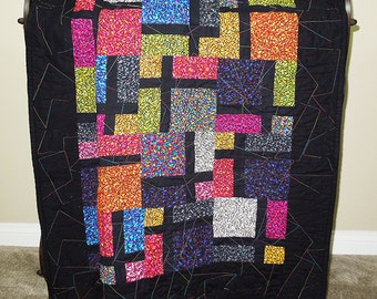 """Disappearing Four Patch Quilt - 55.5"""" X 43"""" - Bright colors and black binding/back."""