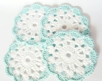 Crochet Coasters set of 4 with blue accent