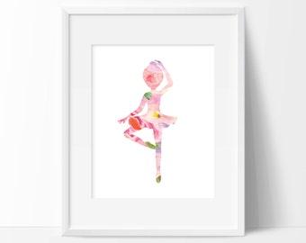 Ballerina Floral Art Print -  Wall Decor - Office Decor - Children's Wall Art - Nursery Decor