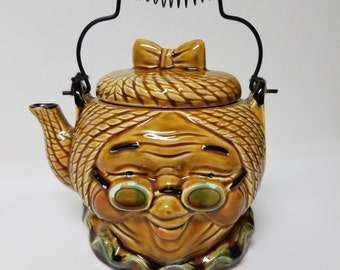 Unique, Vintage Granny Teapot with Hair Bow and Glasses; Ruffled Collar; Japan