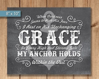 I rest on His unchanging Grace...My Anchor Holds... chalkboard size - 8x10 and additional file with bleed