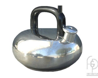Sam Lebowitz for Copco 1980's Polished Stainless Steel  Ultra Modern Cushion Shaped 2-1/2 Quart Water Kettle.