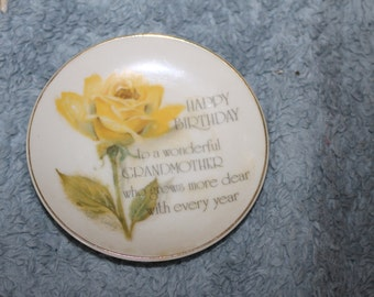 Vintage one Small Plate by Lasting Treasures, Genuine Porcelain, Produced for American Greetings Corp.,  Made in Japan, Happy Birthday