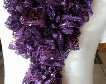 Ruffle Scarf - Purples w/Sequins