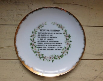 Recipe For Friendship Made in Japan Gold Edge Vintage Gift Decorative Plate