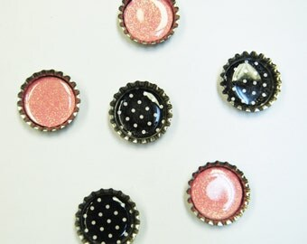 6 ct. Silver Bottle Cap Magnets (Variety Pack 5)