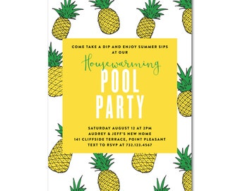 Housewarming Pool Party 5x7 Invitation - Pineapple Party - Printable and Personalized