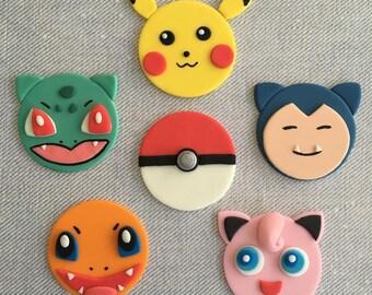 12 Pokemon Go (Pikachu, Jigglypuff, Snorlax, Charmander, Bulbasaur) Fondant Cupcake Toppers
