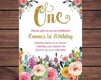 Floral 1st Birthday Invitation Girl, Any Age Floral Pink Gold First Birthday Invitation, Girl 1st ONE Birthday Printable JPEG 891