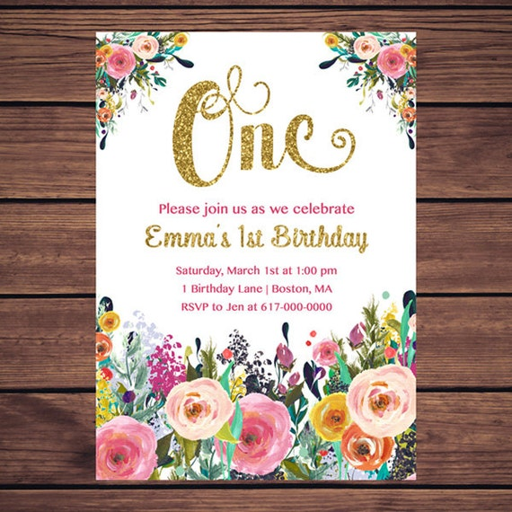 Floral 1st Birthday Invitation Girl Any Age Floral Pink Gold – First Birthday Printable Invitations