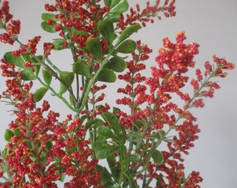"""Coral Orange Multi-Colored Berry Bush 22"""" Bush with Approximately 40 Berry Sprigs  Floral DIY Silk Flowers Floral Supplies #279A"""