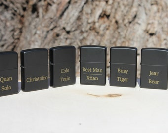 set of 6 Personalized Laser Engraved Black Matte Zippo Lighter- groomsmen gift- valentines gift