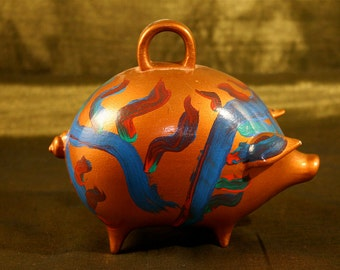 Vintage Ceramic Colorful Ceramic Piggy Bank, Hand painted ceramic piggy bank, Gold piggy bank, Old piggy bank, Unique ceramic piggy bank