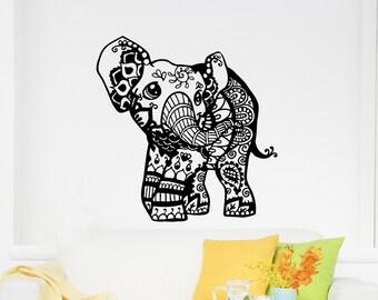 Wall Decals Elephant Decal  Indian Pattern Yoga Sticker Vinyl Decals Wall Decor Murals Z378