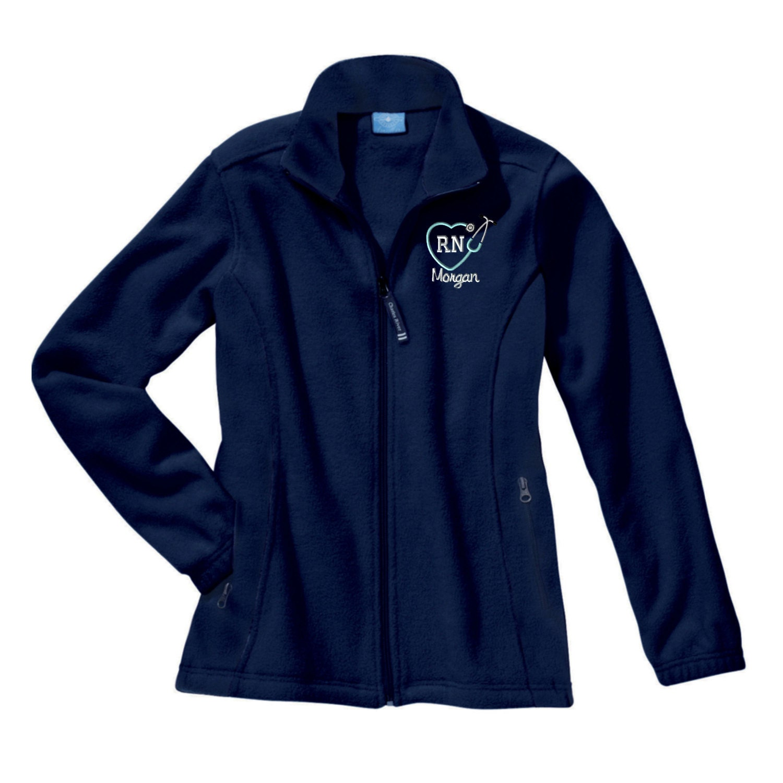 monogram rn heart stethoscope fleece jacket  monogrammed