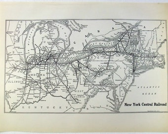 Original 1925 New York Central Railroad System Map