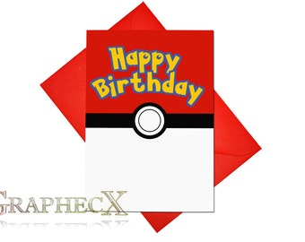 Fan-made Pokemon Pokeball inspired personalized Birthday Card
