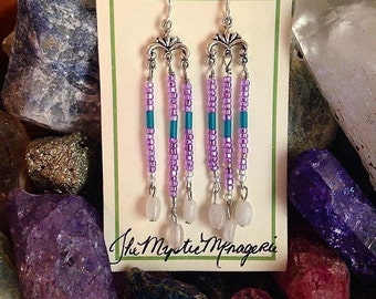 Rose Quartz, Purple and Teal Dangle Earrings