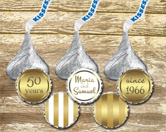 Hershey Kisses Stickers - Gold Wedding Kisses, Gold Anniversary Kisses, wedding stickers, Personalized Wedding, 50th Anniversary Labels
