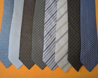 Lot Of 8 Hermes Tie Pure Woven Heavy Silk Various Colour & Pattern Vintage Designer Dress Necktie Made In France