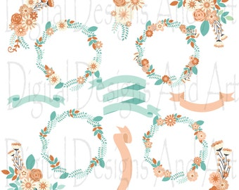 Coral floral wedding clipart, Flower clipart, Flowers digital clip art, Floral wreath, Flower ribbons, Invitation Label, Mint digital flower
