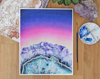 Crystal Landscape 1. 'Amethyst Sunset.' Archival Print - Hand-embellished with gold paint