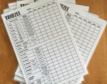 THREE scorecards! 6x9 Laminated Yardzee score card - six players - yardzee - yard games - lawn dice - score sheet -wedding game