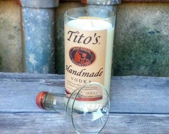 Tito's Vodka Recycled Bottle Candle