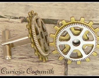 Bronze and Silver Steampunk Cuff Links - Cog Cuff Links - Steampunk Cufflinks - Cog Cufflinks - Silver Cuff Links - Bronze Cuff Links