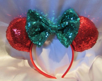 Sequin Christmas Mouse Ears /Headband