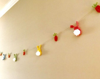 Crochet Easter Bunny Garland | Crochet Easter Party Decoration | Decorative Rabbit and Carrot Bunting | Crochet Peeps Garland