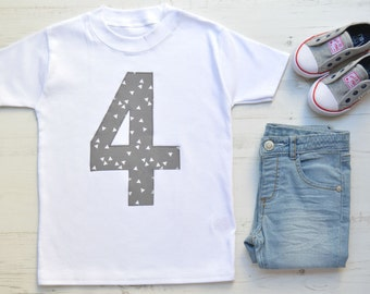 Geometric 4th Birthday Shirt | Fourth Birthday Outfit | 4th Birthday Outfit | White SS Appliqué 4