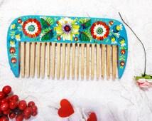 Wooden comb blue comb Wooden Hair Wooden comb Wood combs Wooden Brush Brushes Hair best wooden comb wood hair brush beard comb comb brush