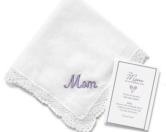 Embroidered Mom Hanky Wedding Handkerchief