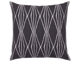 Charcoal Gray Zippered Pillow Cover - Handcut Shapes Charcoal Throw Pillow - Diamonds Accent Pillow - Gray Cushion Cover - Geometric Pillow