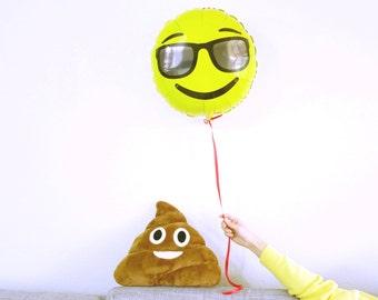Sunglasses Emoji Balloon - Emoticon Foil Mylar Balloons