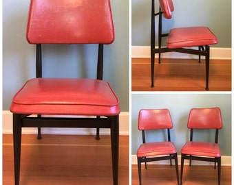 Set Of 2 Vintage Mid Century Red Vinyl Chairs, Mid Century  Modern Chairs, Retro 60's Red Vinyl Black Metal  Chairs.
